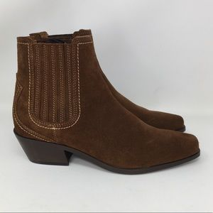Zara Boots Brown Suede Chelsea Pull On NWT 6.5